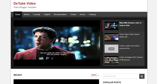 DeTube Video Responsive Blogger Templates