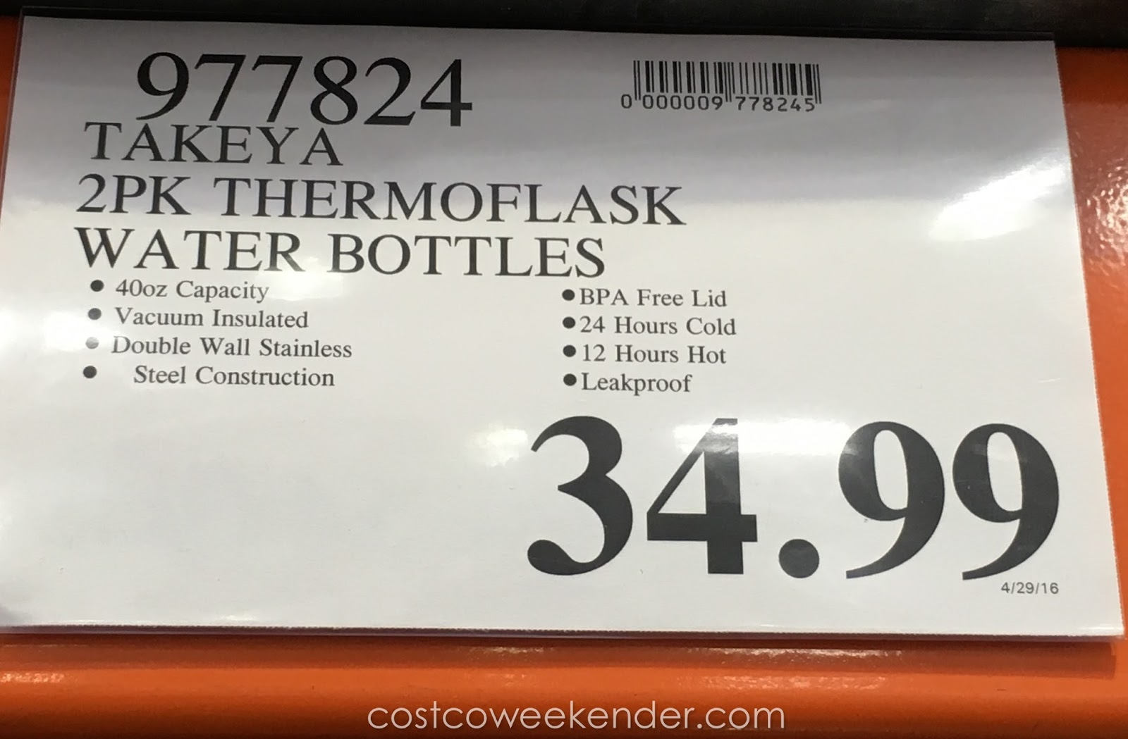 Deal for the Takeya ThermoFlask Water Bottle (2 pack) at Costco