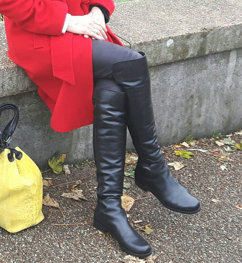 Image showing a close up of the black leather over the knee boots worn by Hilda Smith of Over The Hilda in the 5 Over 50 Challenge These Boots were Made for Walking