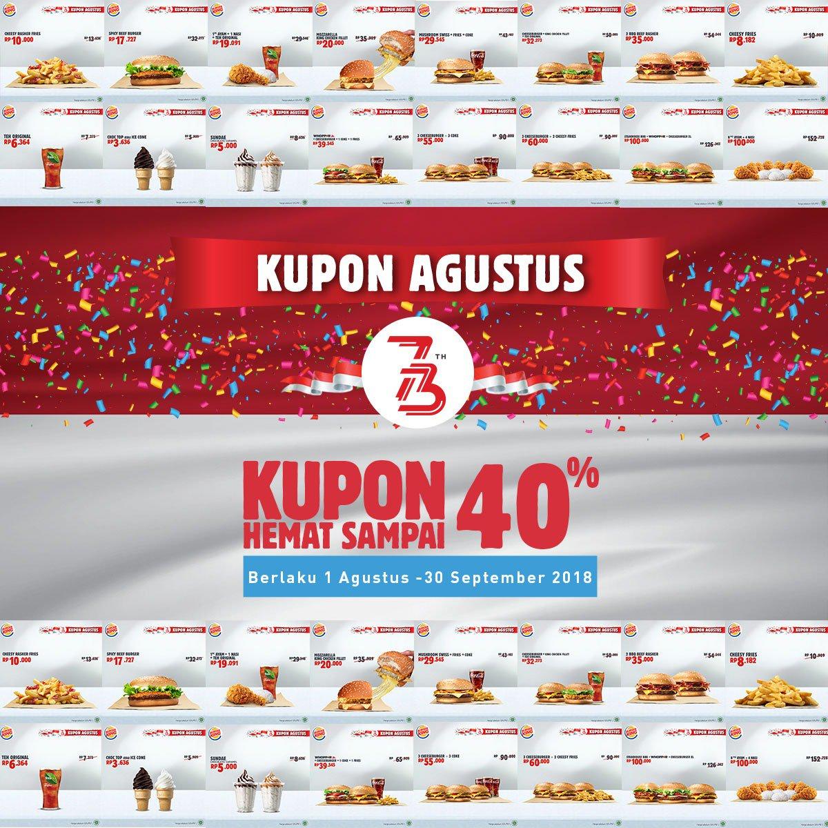 BurgerKing - Kupon Diskon s.d 40% Bulan Agustus 2018