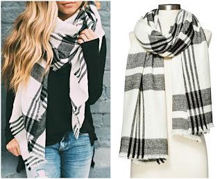 Women's Cozy Plaid Blanket Wrap Scarf White Black - Merona, ILY WHITE PLAID SCARF