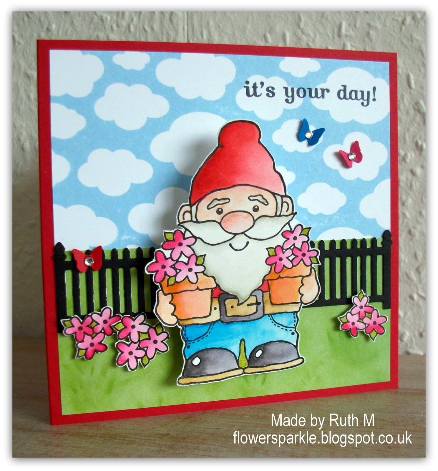 Flower sparkle wobble gnome birthday card the card i then inked and stamped just the flowers from the image coloured them fussy cut them and popped them up finally i added three teeny tiny bookmarktalkfo Image collections