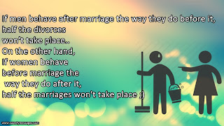 If men behave after marriage the way they do before it, half the divorces won't take place.. On the other hand, If women behave before marriage the way they do after it, half the marriages won't take place ;)