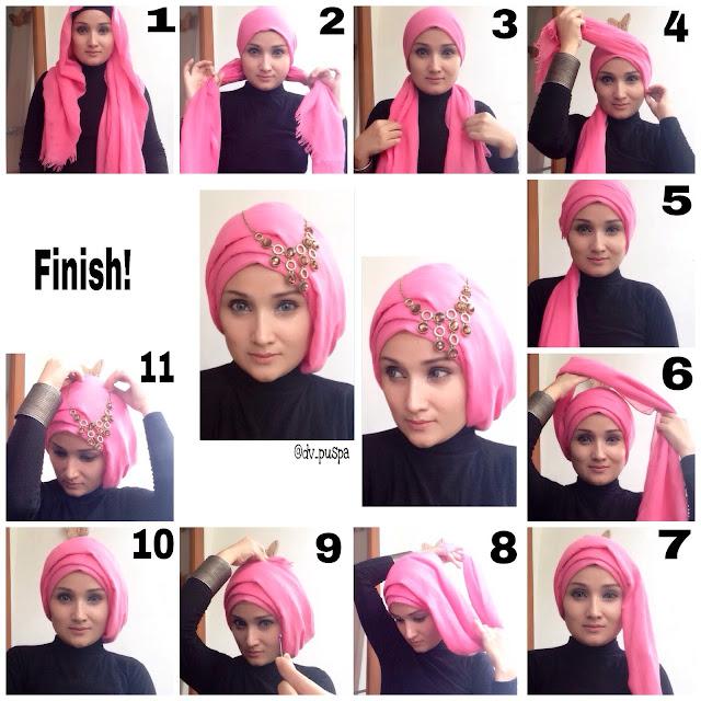 10 Idée de tutoriels le hijab turban d'une maniére facile et moderne