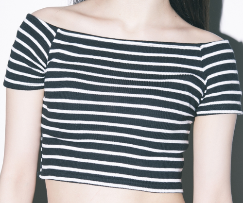 Striped Off-Shoulder Crop Top