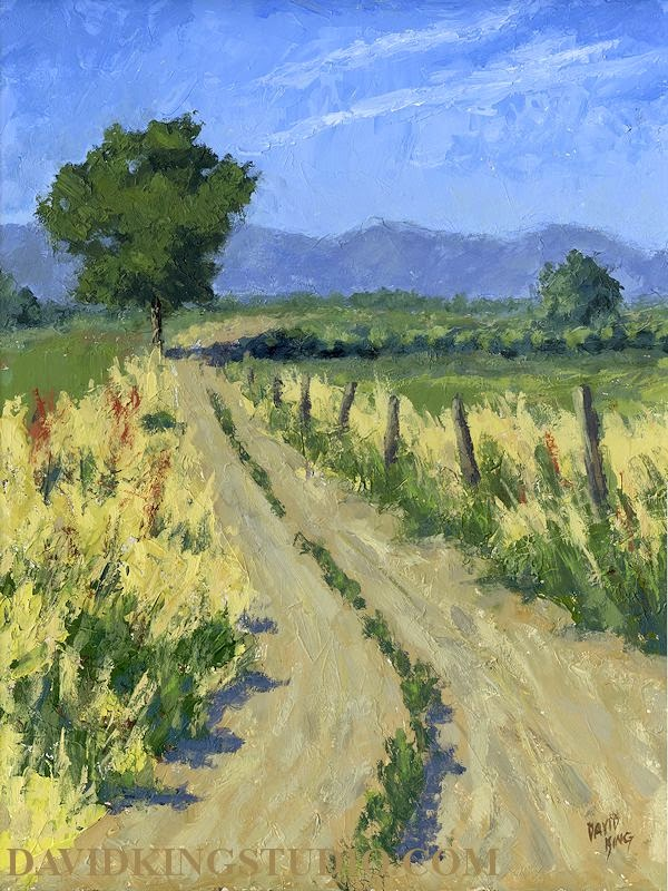 art painting landscape rural summer road ranch farm countryside