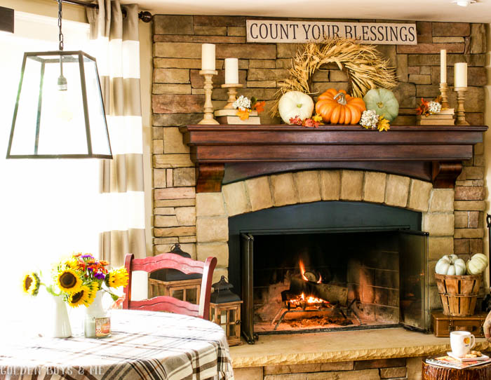 Fall mantel ideas with stone fireplace - www.goldenboysandme.com