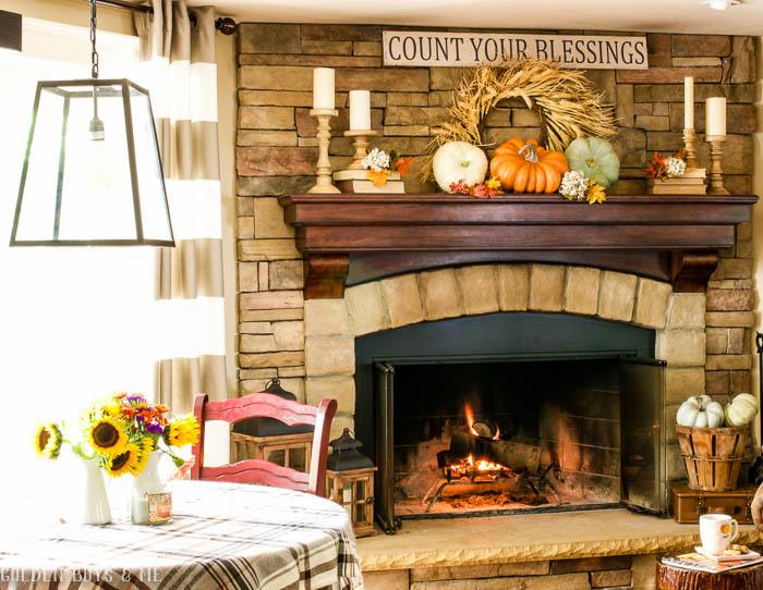 Fall mantel ideas with stone fireplace - www.goldenboysandme.com