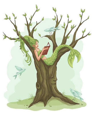 mermaid reading book in tree