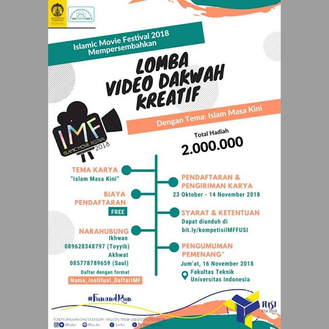 Lomba Video Dakwah Kreatif 2018 Gratis Pelajar Mahasiswa Umum