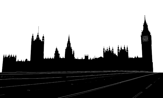 westminster palace or british parliament silhouette