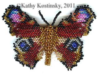 Бабочка из бисера павлиний глаз. Видео пошаговое