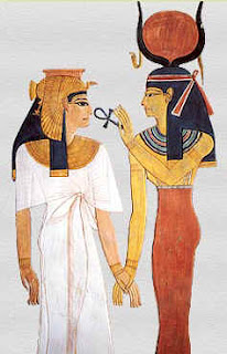 The Goddess Isis holds the ankh at the nose of Queen Nefertari