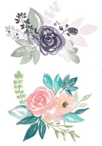 Wedding Flowers Watercolor art for Invitations