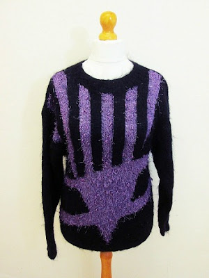 Original black and purple women's 80s sweater