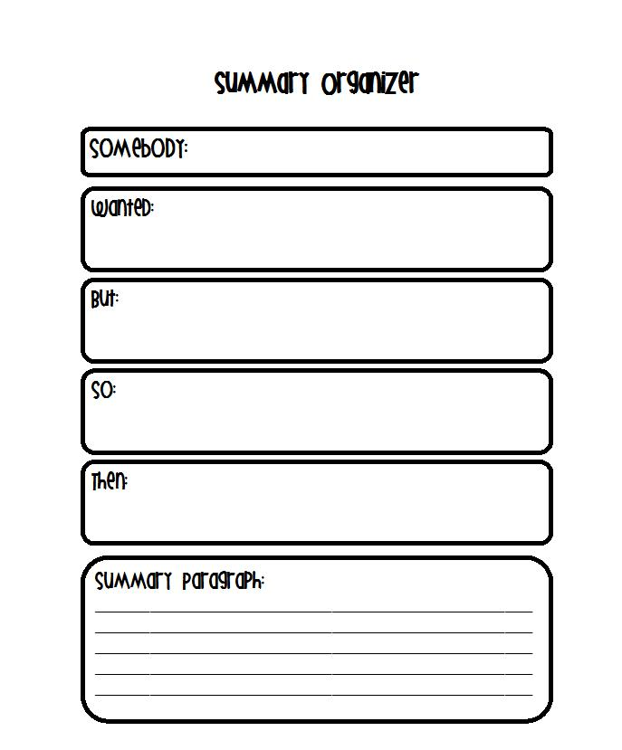 graphic organizer for writing a story summary