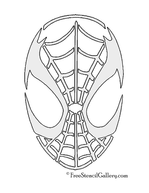 Free spiderman pumpkin stencil carving pattern designs for
