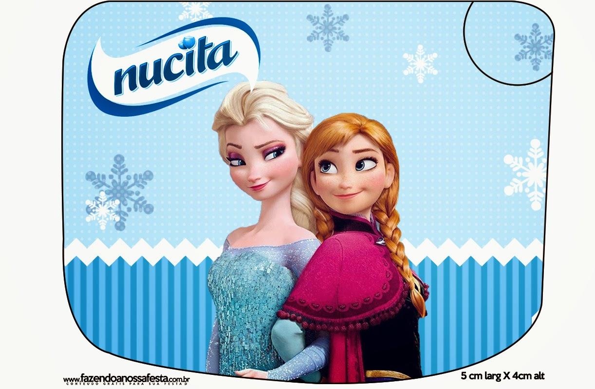 Etiqueta Nucita para Imprimir Gratis de Frozen Navidad Azul.