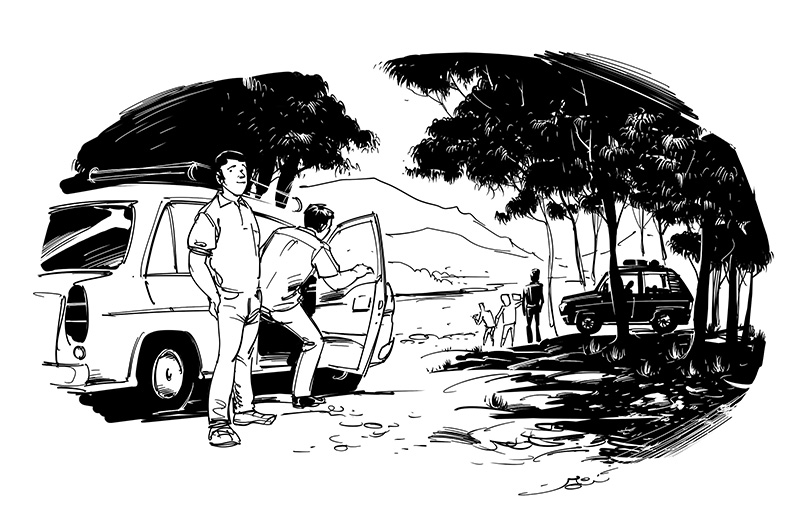 horror illustration tourists in jungle