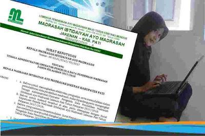 Contoh SK Operator pengelola data pendidikan  Contoh SK Operator Madrasah untuk Pengelola Emis