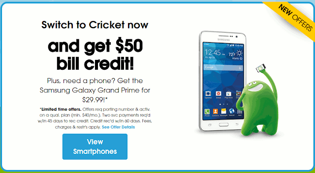 Cricket $50 Switcher Bill Credit
