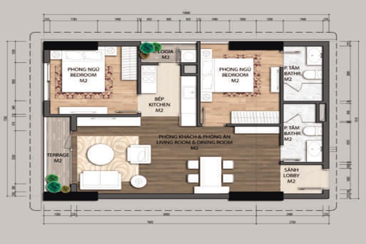 Mặt bằng căn hộ A1.2-2 phòng ngủ – 70.4m2