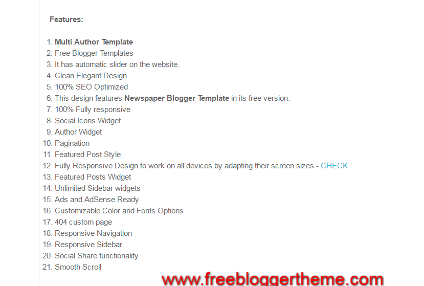 Stylish blogger template features