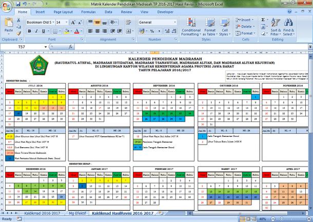 Kalender Pendidikan Madrasah Tahun Pelajaran 2016-2017 Hasil Revisi
