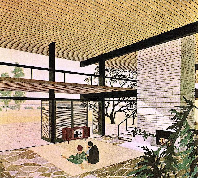 a Charles Schridde color illustration of a home interior