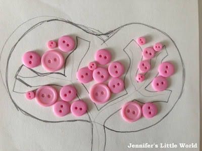 Felt and button tree picture in pink and brown