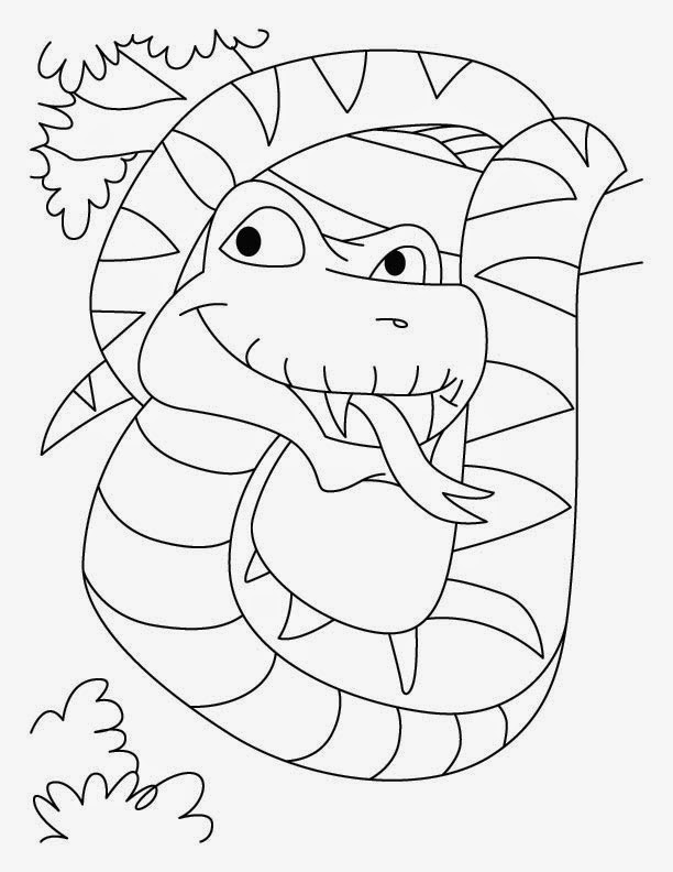 Kids page printable snake coloring page 5 for Snake coloring pages to print