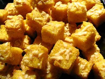 Polenta Croutons with Parmesan