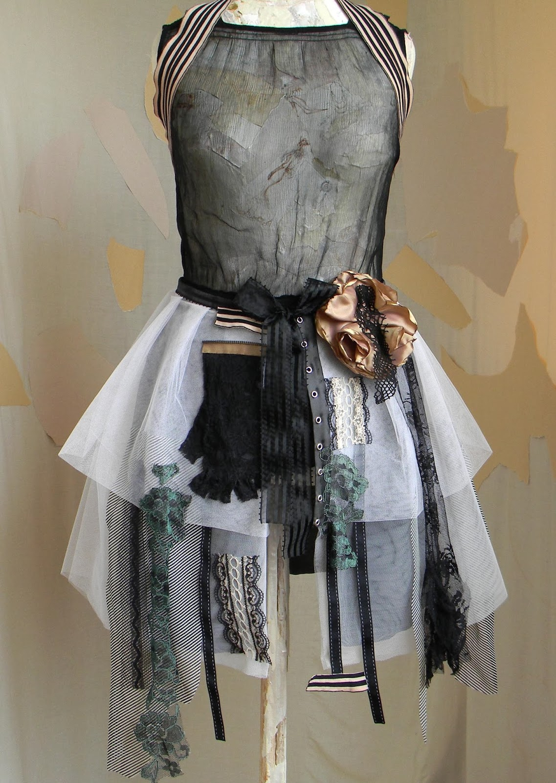 Burlesque Gothic Fashion Skirt and Capelet Steampunk Couture