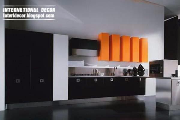 Kitchen Design Ideas 2014 Distressed Island Butcher Block Modern Black Designs Furniture Cabinets Home And Orange