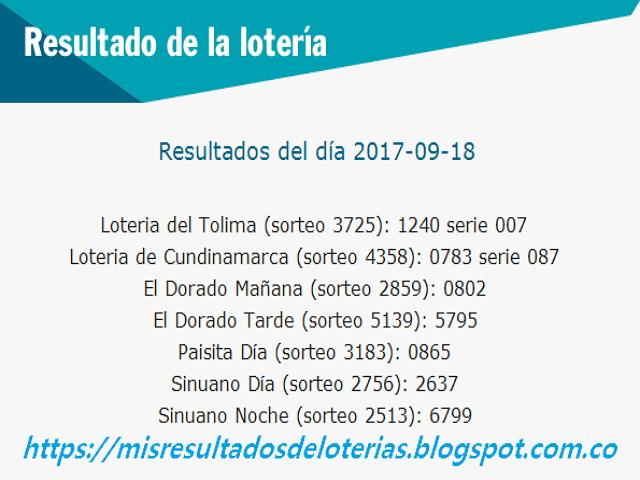 Como jugo la lotería anoche | Resultados diarios de la lotería y el chance | resultados del dia 18-09-2017
