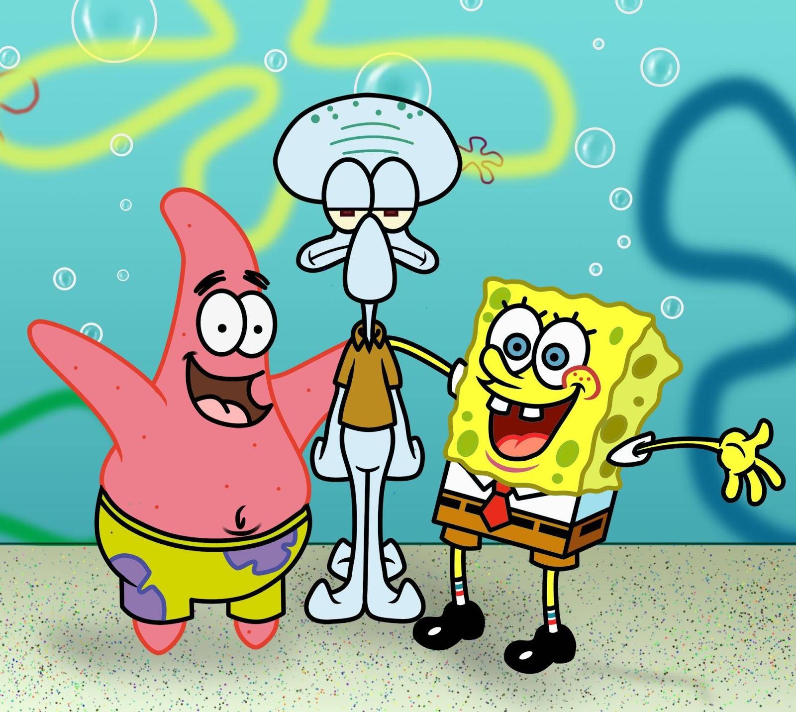 American top cartoons: Spongebob and patrick