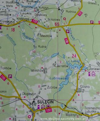 Lokalizacja linii kolejowej z Rudnicy do Sulęcina