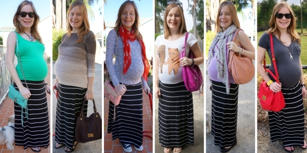 Jersey striped black white maxi skirt in third trimester non-maternity wear | AwayFromTheBlue
