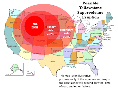 Yellowstone national park eruption map.