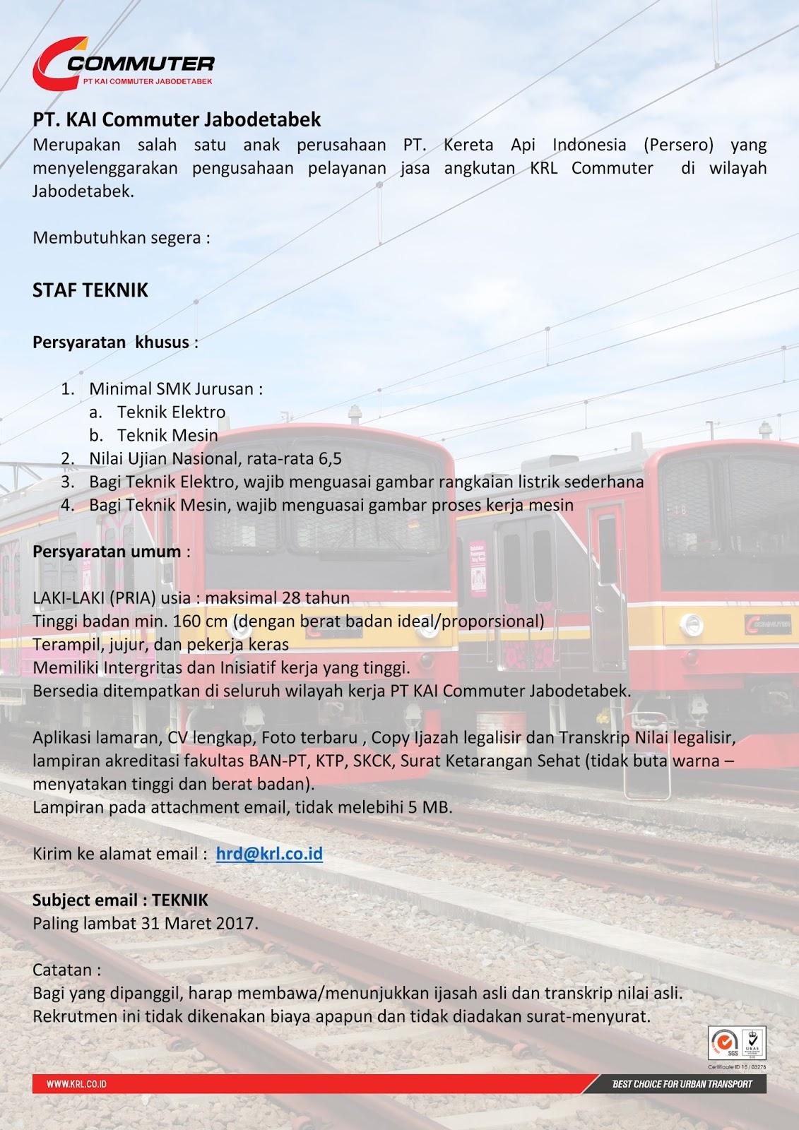 Lowongan Kerja Pt Kai Commuter Jabodetabek Hingga 31 Maret
