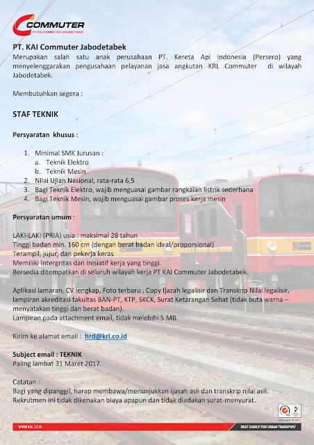 Lowongan Kerja PT KAI Commuter Jabodetabek Hingga 15 Maret 2017