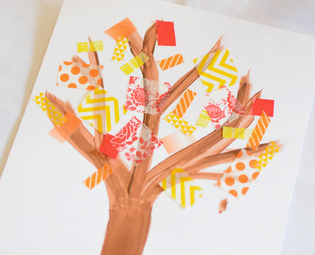 Washi Tape Fall Trees.  Fine motor autumn craft for preschool, kindergarten, or elementary.