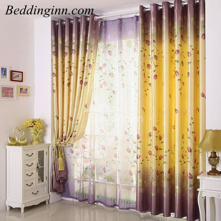 High Quality Elegant Light Yellow Beautiful Floral Patterns Gromment Top Custom Curtain
