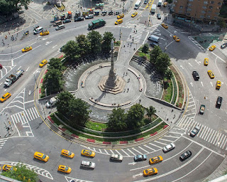 The Columbus Circle intersection, seen from the air, is an important part of the geography of New York City