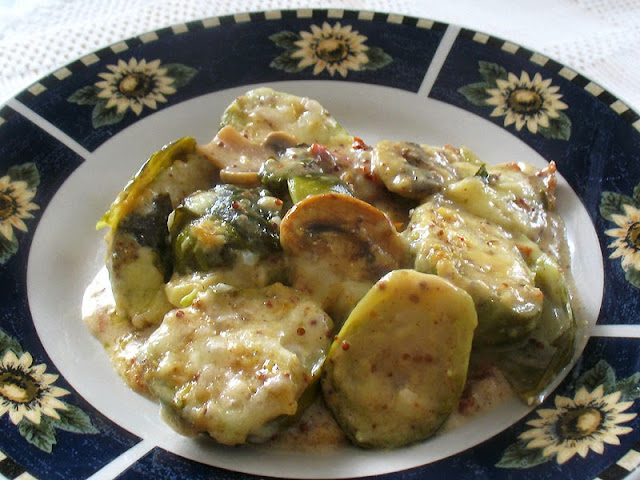Brussels Sprouts and Mushroom Gratin with a Dijon Mornay Sauce