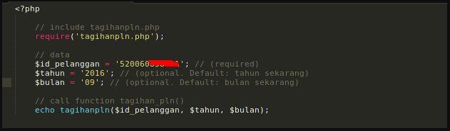 Cara menggunakan Aplikasi Tagihan PLN dengan PHP