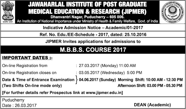 JIPMER MBBS Admission 2017: Entrance Exam Registration Starts Today