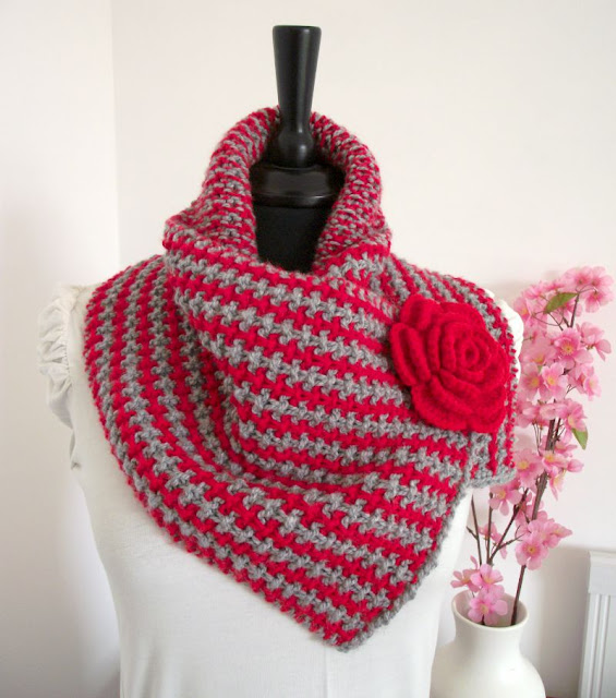 Charly Cowl with Crochet Flower