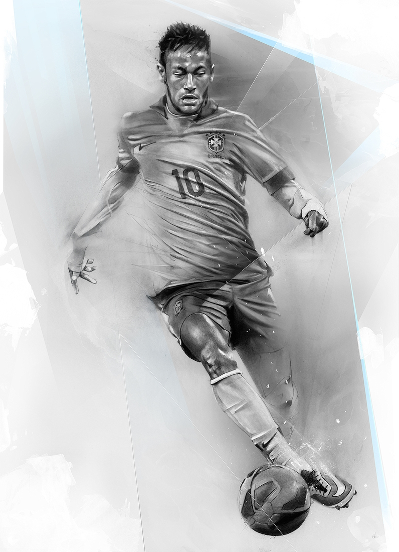 11-Neymar-Alexis-Marcou-Traditional-and-Digital-Celebrity-Drawings-www-designstack-co
