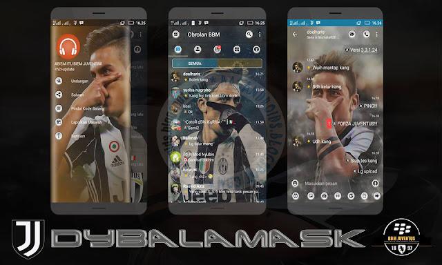 BBM Mod Juventus Theme v3.3.1.24 Dybalamask Style Apk